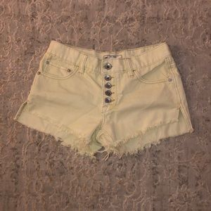 pale yellow free people jean shorts